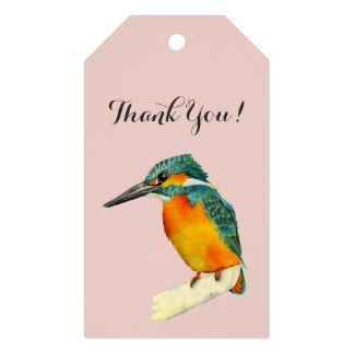 "Kingfisher Bird Watercolor Painting ""Thank You!"" Gift Tags"