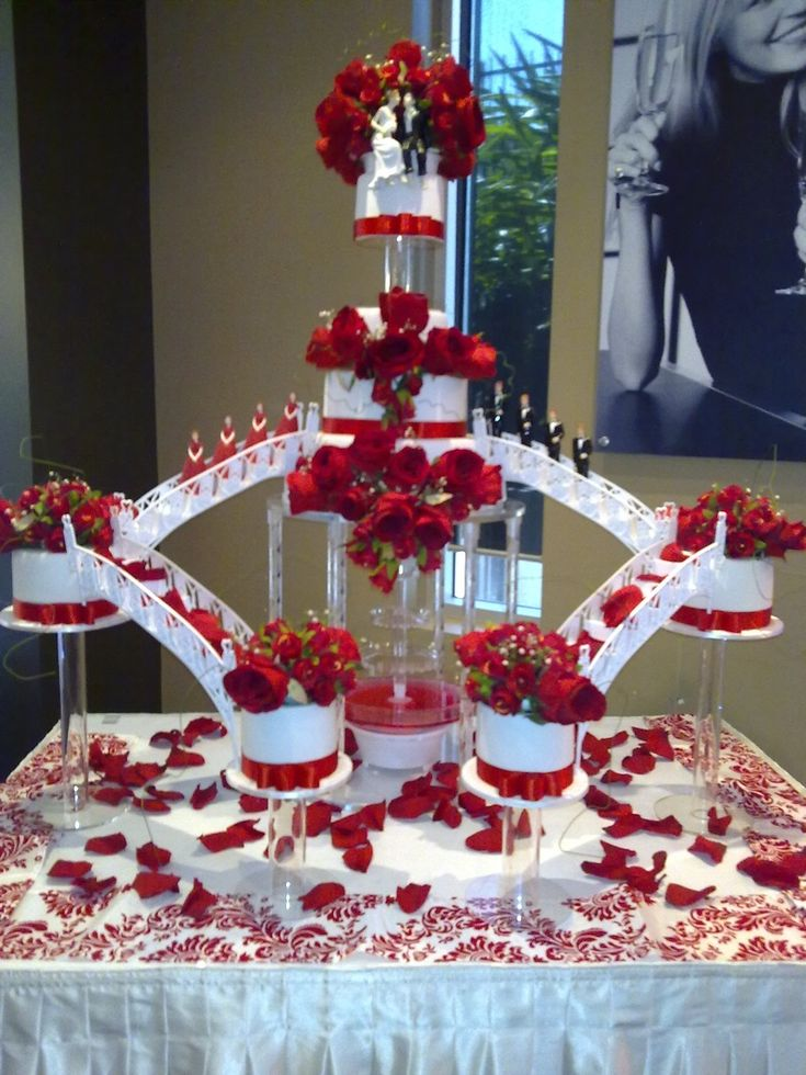 Red Roses Fountain Stairs Wedding Cake Lynne S Bday