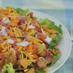 Doritos Taco Salad is one of our favorites to take out to the lake camping. Place each ingredient in separate zip lock baggies.