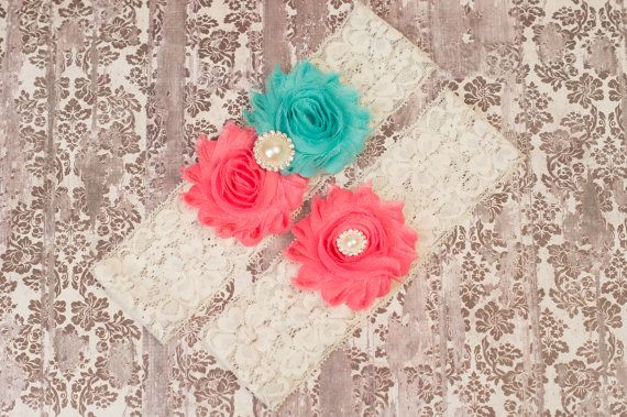 Bridal Garter Sets Aqua & Coral Wedding Garter by GirliesGalore, $19.95