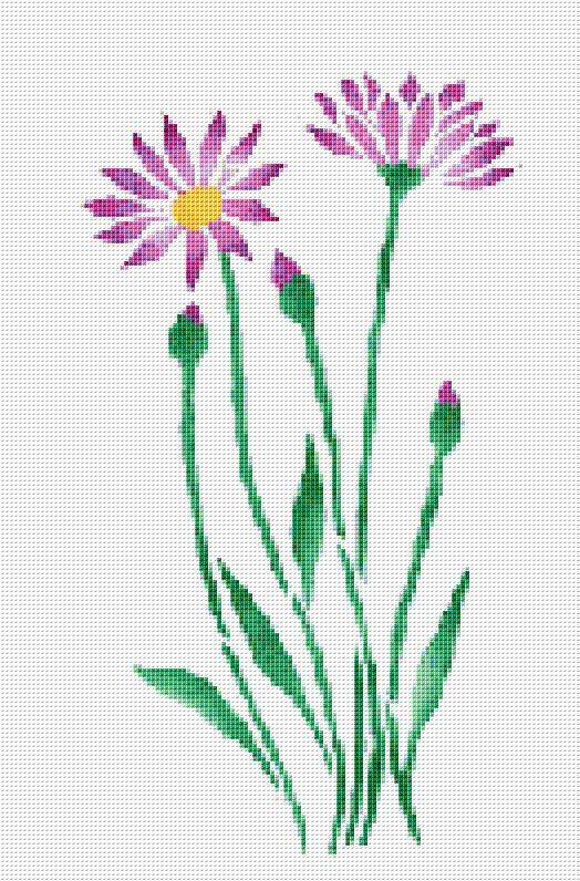 Purple Daisy Cross Stitch Pattern Flower Floral by xstitchpatterns, $3.00