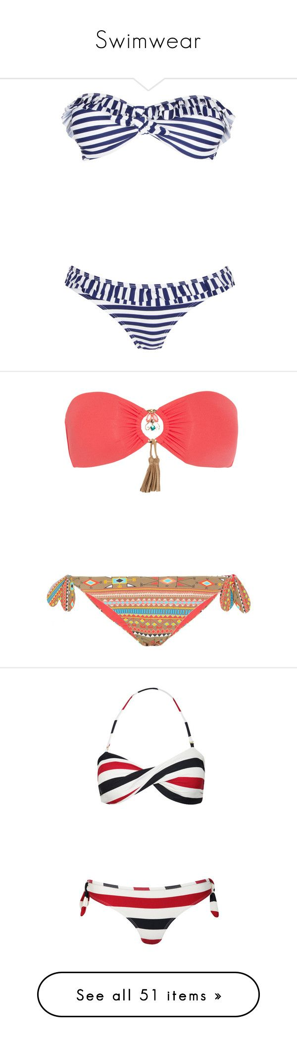 """""""Swimwear"""" by fabianluver-1 on Polyvore featuring swimwear, bikinis, swimsuits, bathing suits, swim, bikini swimsuit, hipster bikini bottoms, bandeau top bikini, bandeau bikinis and flounce bikini"""