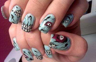 unhas decoradas para o dia das bruxas zumbi