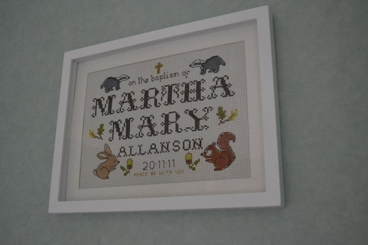 Commemorative baptism embroidery for my god daughter