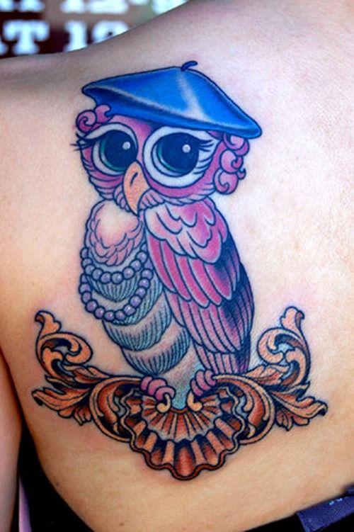 owl tattoos   Cute Owl Tattoo on Back Upper Shoulder   Tattoo Ranking