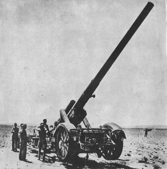17cm Kanone 18 in Mrs. Laf. in North Africa. It's range was 29.6km