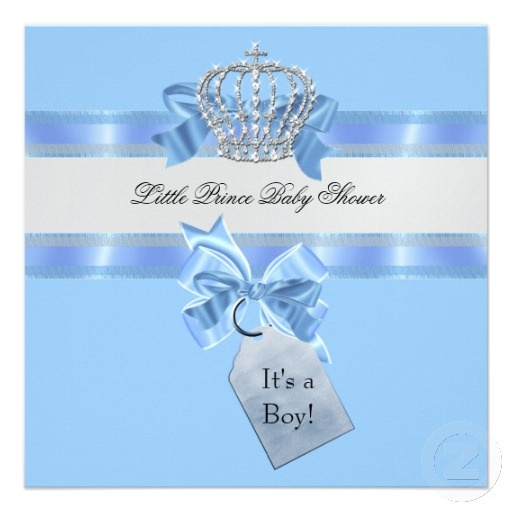 Crowns For Baby Shower: Baby Shower Boy Blue Little Prince Crown Card