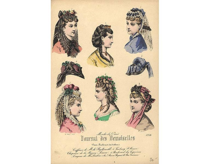 Hair styles and hats, 1870