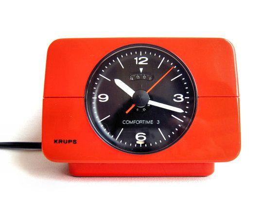 Vintage Alarm Clock  Orange Krups Comfortime 3 by Lunartics, €45.00