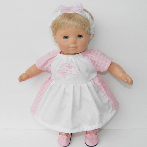 Spring is a time to rejoice and be thankful for the gift of life! This is for ONE of these two piece dresses.  Welcome to adorabledolldesigns!  Includes:  -1 pink and white check embroidered peasant dress  -1 headband with lace bow  This will fit your bitty baby and similar 15 dolls and the Cabbage Patch 16 KIDS Doll Clothes /16 CPKKids Doll Clothes.    ~~~~~~~~~~~~~~~~~~~~~~~~~~~~~~~~~~~~~~~~~~~~~~~~~~~~~~~~~~~~~~~~~~~~~~~~~~~~  - All handmade items!  - Ship within 24 hours!  Adorabledo...