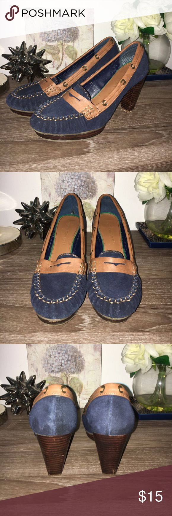 Tommy Hilfiger High Heel Boat Shoes Navy blue boat shoes with a brown roped border and brown wooden inspired heel. Tommy Hilfiger Shoes Heels