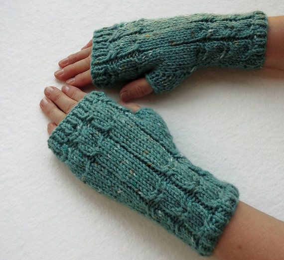 FREE SHIPPING Fingerless Gloves in Teal Green by Need4KnitShop