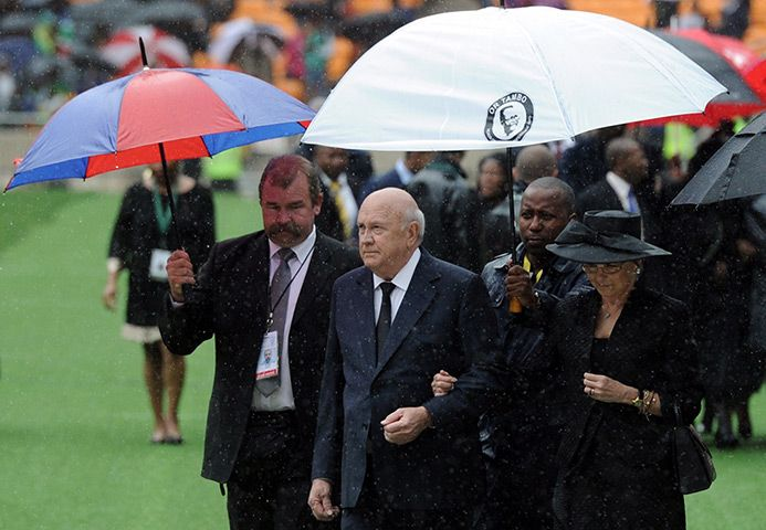 Credit: Stephane De Sakutin/AFP/Getty Images Former South African apartheid-era president Frederik Willem de Klerk arrives