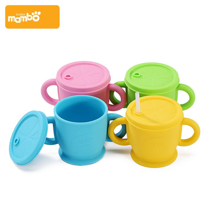 Mambobaby Baby Cup Silicone Cover Kids Cup With Straw Children Feeding Sippy Cups Drinking Water Milk Bottle For Toddler