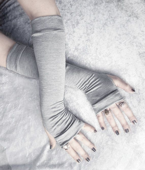 Arm Warmers | Heather Grey Soft Cotton - Yoga Office Neutral Gloves Running Sleeves Cycling Light Gothic Bellydance Armwarmers | Dust Bunny