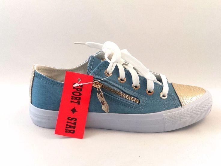 Womens Flats Metallic Pumps Lace Up Zip Plimsolls Ladies Trainers Shoes Size
