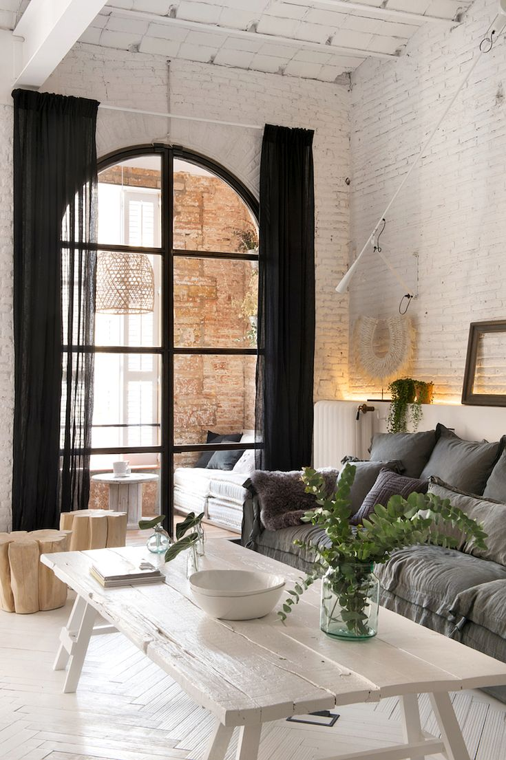 Black muslin curtains = gorgeous! Bohemian Industrial Style Apartment In Barcelona | by marta castellano.