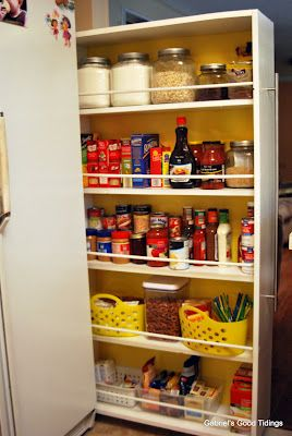 Don't have a kitchen pantry but wish you did? This post contains links to build your own, and all you need is a small gap of space between your fridge and your wall. Amazing how much added space it provides!