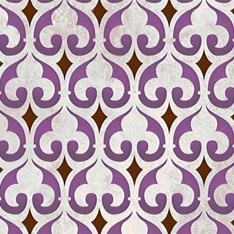 This allover wall stencil pattern is a Moroccan version of the Fleur de Lis, a classic design element historically associated with the French monarchy and Europ