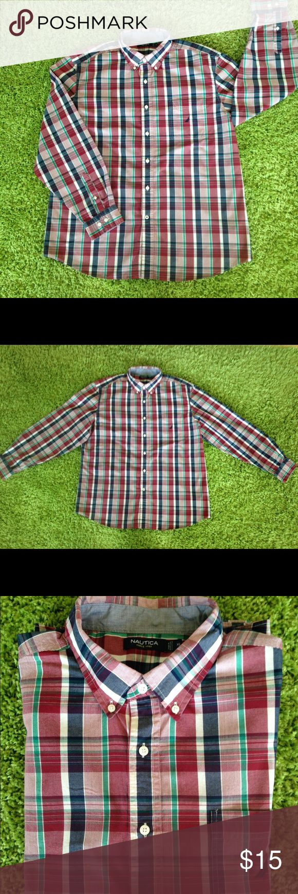 MENS XL NAUTICA BUTTON DOWN LONG SLEEVE SHIRT. EUC MENS NAUTICA PLAID LONG SLEEVE BUTTON DOWN SHIRT. XL IN SIZE AND COMES FROM A NON SMOKING PER FREE HOME. Nautica Shirts Casual Button Down Shirts