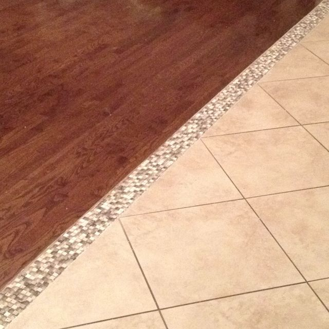 Our Hardwood Tile Transition Mosaic Tile I Am In LOVE