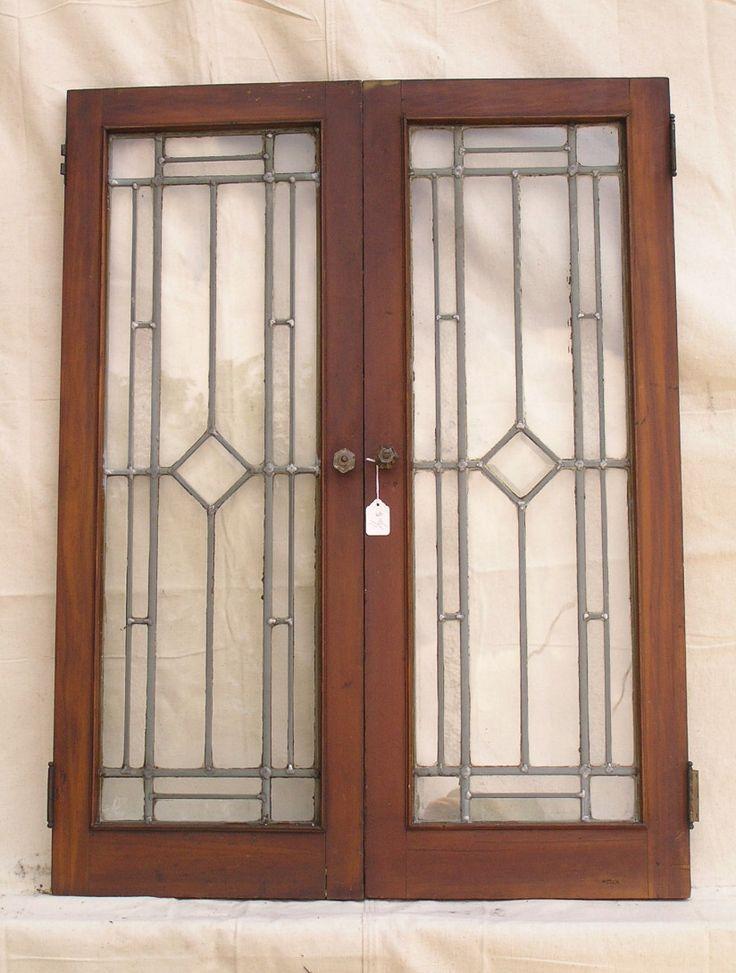 Leaded Glass Cabinet Doors Antique