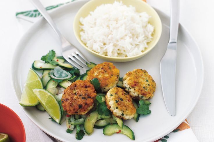 Thai fish cakes with pickled cucumber http://www.taste.com.au/recipes/9366/thai+fish+cakes+with+pickled+cucumber