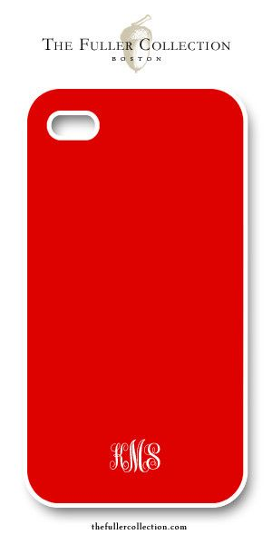 Lipstick Red with White Monogram - iphone Cover