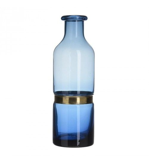 GLASS VASE IN BLUE COLOR 11X11X33