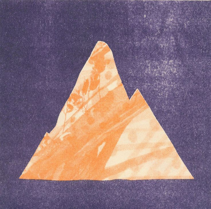 Detail - orange and purple mountain print. Print your own stencil prints at the Rizzeria. We're based in the Rocks in Sydney and open 12-5 Wed-Sun www.rizzeria.com.