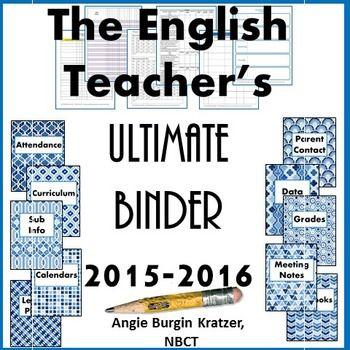 The English Teacher's Ultimate Binder {High School Blue Geometric}. $ Finally! A teacher binder with a mature look. :-)
