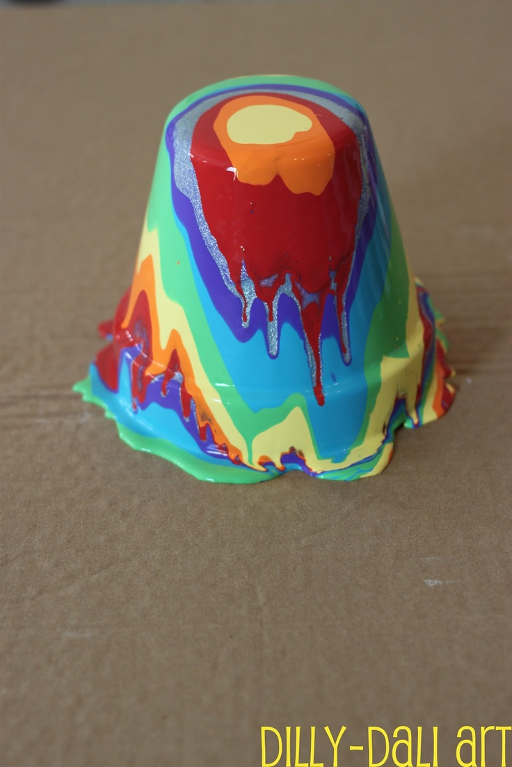 Dilly-Dali Art: Rainbow Pour Painting {on terra cotta pots}