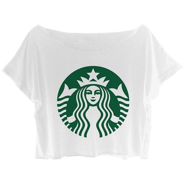ASA Women's Crop Top Starbucks Shirt Mermaid Starbucks T-shirt Logo... (93105 PYG) ❤ liked on Polyvore featuring tops, t-shirts, white crop t shirt, white logo t shirts, white crop top, white crop tee and crop top