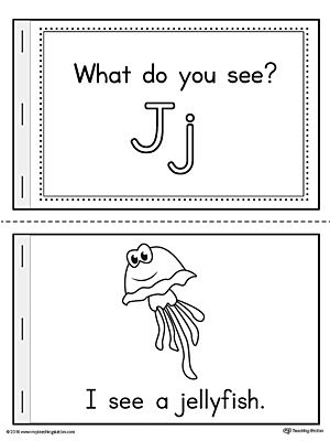 Letter J Words Printable Mini Book Worksheet.Practice beginning sounds with the Letter J Words Printable Mini Book. Each page includes a word that begins with the letter J and a picture that represents the word. List of words: jellyfish, jar, jaguar, jacket, and jug.