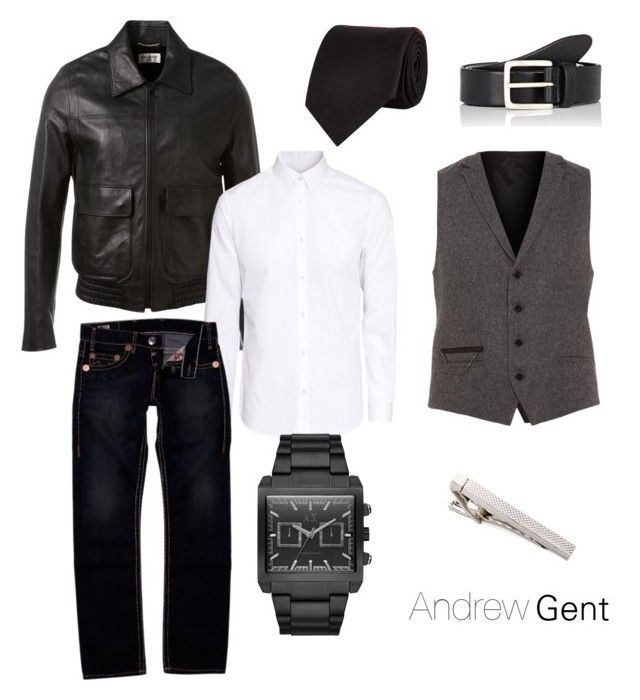 """leather and tie"" by andres-aldana-ad on Polyvore featuring Alexander McQueen, HUGO, Yves Saint Laurent, H&M, True Religion, Armani Exchange, Kenneth Cole and Barneys New York"