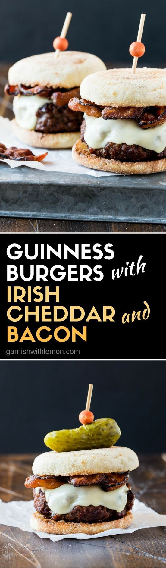 Looking for St. Patrick's Day party food? Add this Guinness Burger with Irish Cheddar and Bacon to your menu!