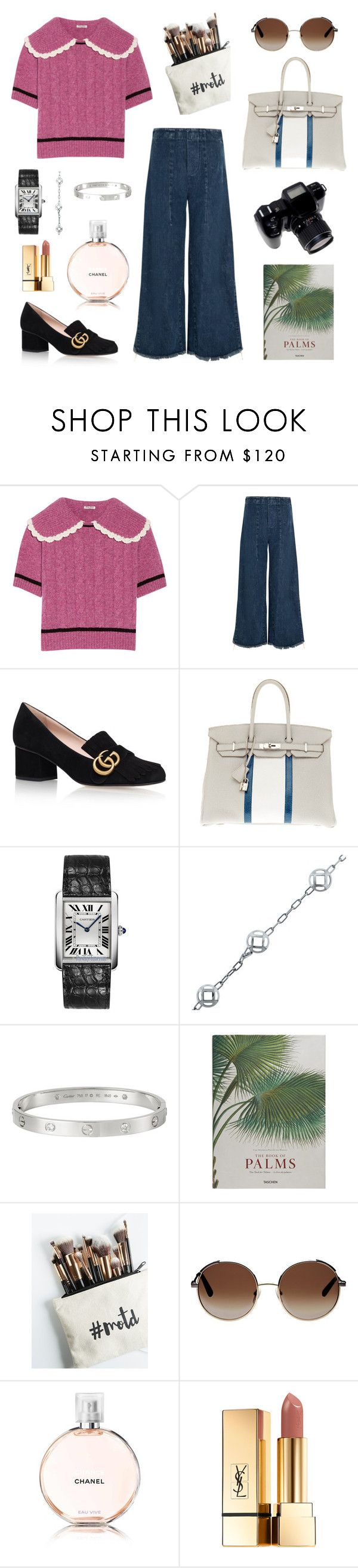 """""""NY9"""" by mommonde ❤ liked on Polyvore featuring Miu Miu, Chloé, Gucci, Hermès, Cartier, Taschen, Free People, Chanel and Yves Saint Laurent"""