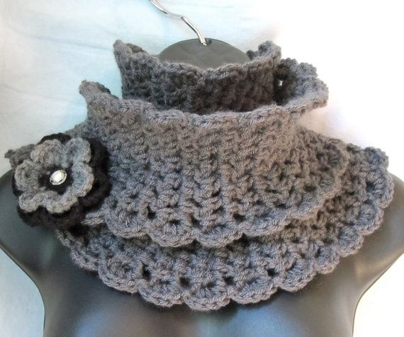 Love the look! Charcoal Gray & Black Cowl [can be worn as a short scarf] w/brooch (adds a little coverup for tops that are too low cut... and wonderful warmth for cold in the winter!) *she also has a cute cloche hat to match as well as boot cuffs