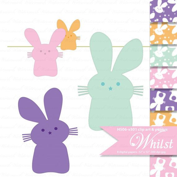 SALE Easter digital paper bunny clip art by WhilstDigitalStash, $2.79