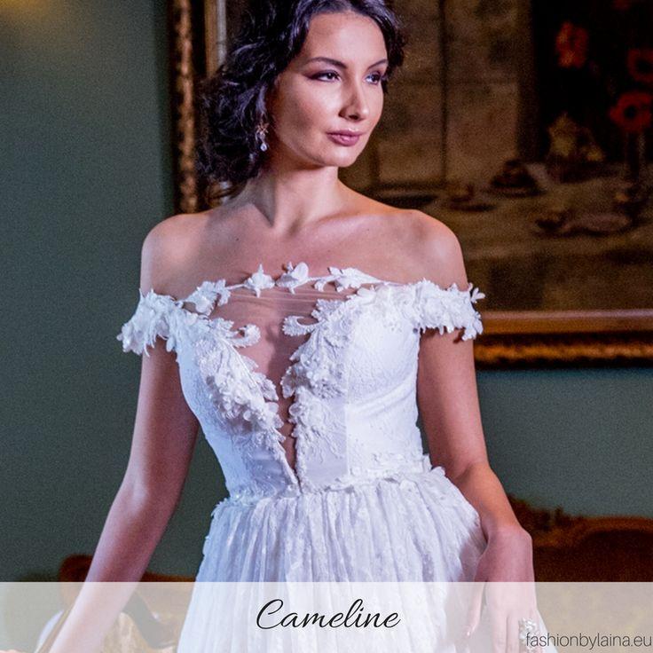 Wedding V-neckline, adorned with stunning details | Reve de Fleur Bridal Gown Collection 2018