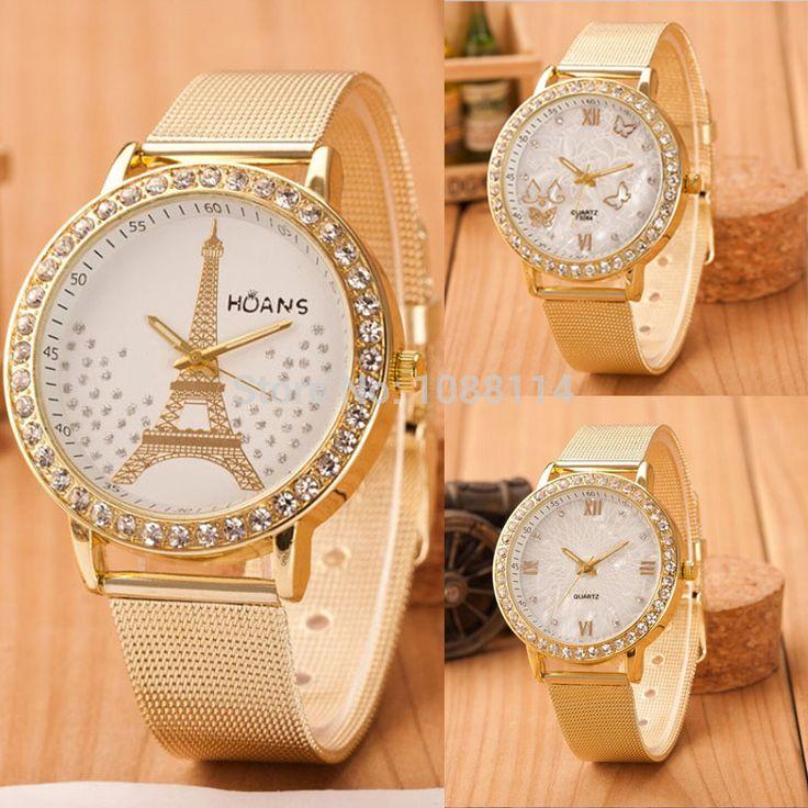 2015 relogio feminino diamond bracelet watch women dress quartz women watches rhinestone golden stainless mesh band relojes