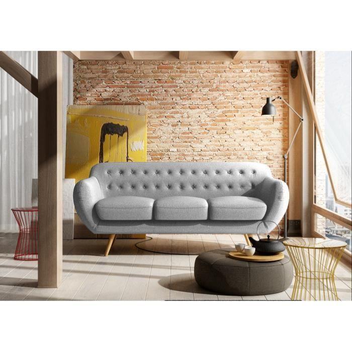 finlandek canapé tissu tila 3 places - 190x86x84 cm - gris clair