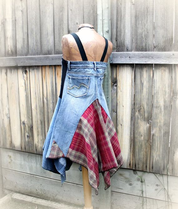 Womens, bohemian, upcycled, blue and burgundy plaid, country, boho dress in size medium. One-Of-A-Kind, eco friendly, handmade, clothing and