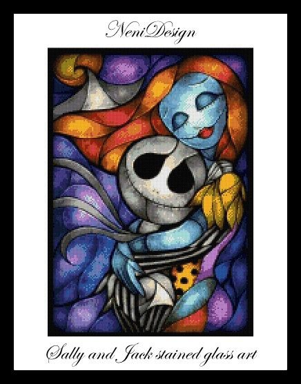 Sally and Jack stained glass art  cross stitch by NeniDesign