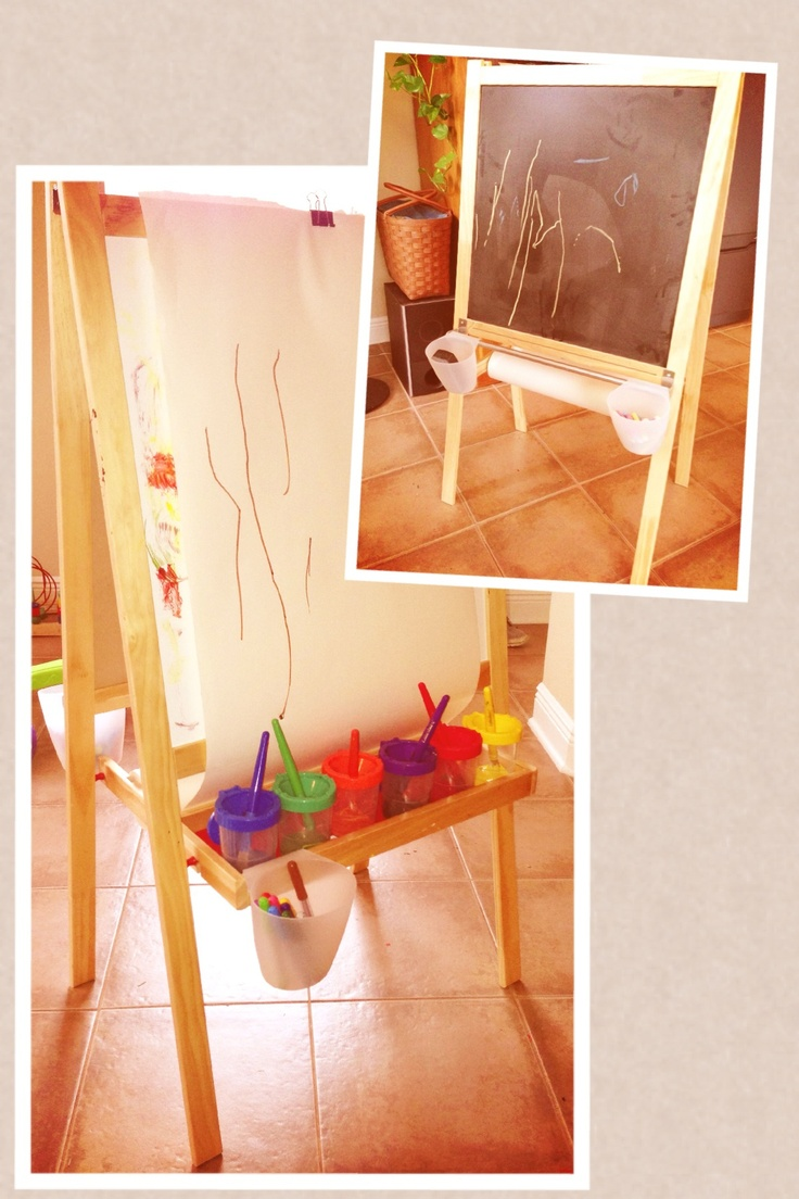 • paint tray on the dry erase side - easier to clean paint off of that surface than the chalk board • add a bar and hanging buckets for chalk and eraser on the chalk board side