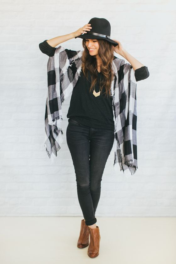 Black and white tartan skinny jeans