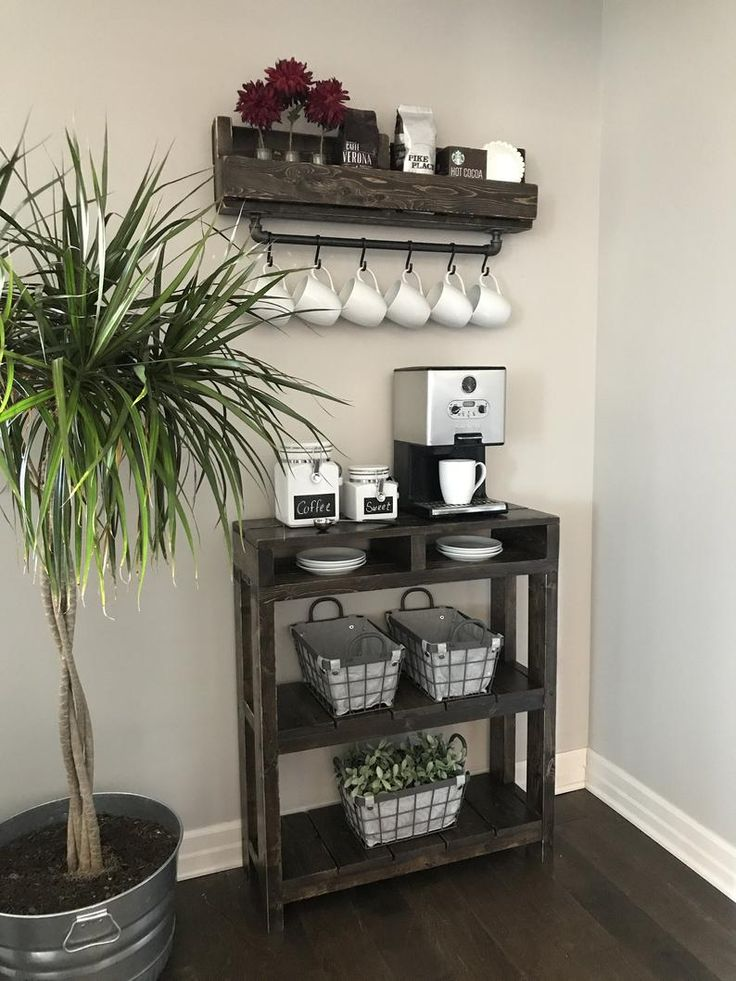 Industrial Coffee Bar Combination / Coffee Bar / Coffee Station / Coffee Bar Table / Coffee Storage/ Purchase Pair and Save - All About Decoration Coffee Bars In Kitchen, Coffee Bar Home, Coffe Bar, Coffee Bar Ideas, Coffee Cup, Coffee Nook, Coffee Bar Design, Coffee Counter, Coffee Maker