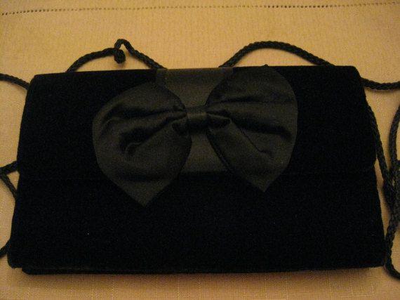Un Used Vintage Black Velvet Satin Bow by vtseredipityboutique