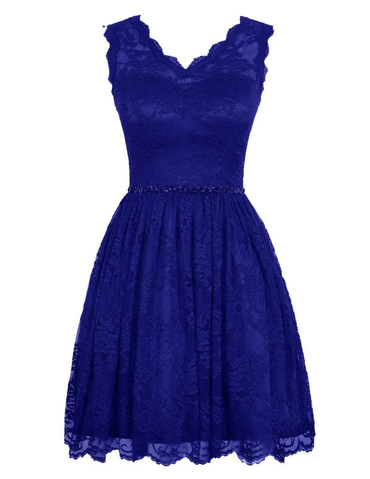 Diyouth elegant short v neck lace flower formal bridesmaid for Royal blue short wedding dresses