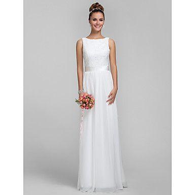 piso vestido de dama de honor de la gasa de la longitud y el vestido de la columna bateau la envoltura del cordón – EUR € 89.99